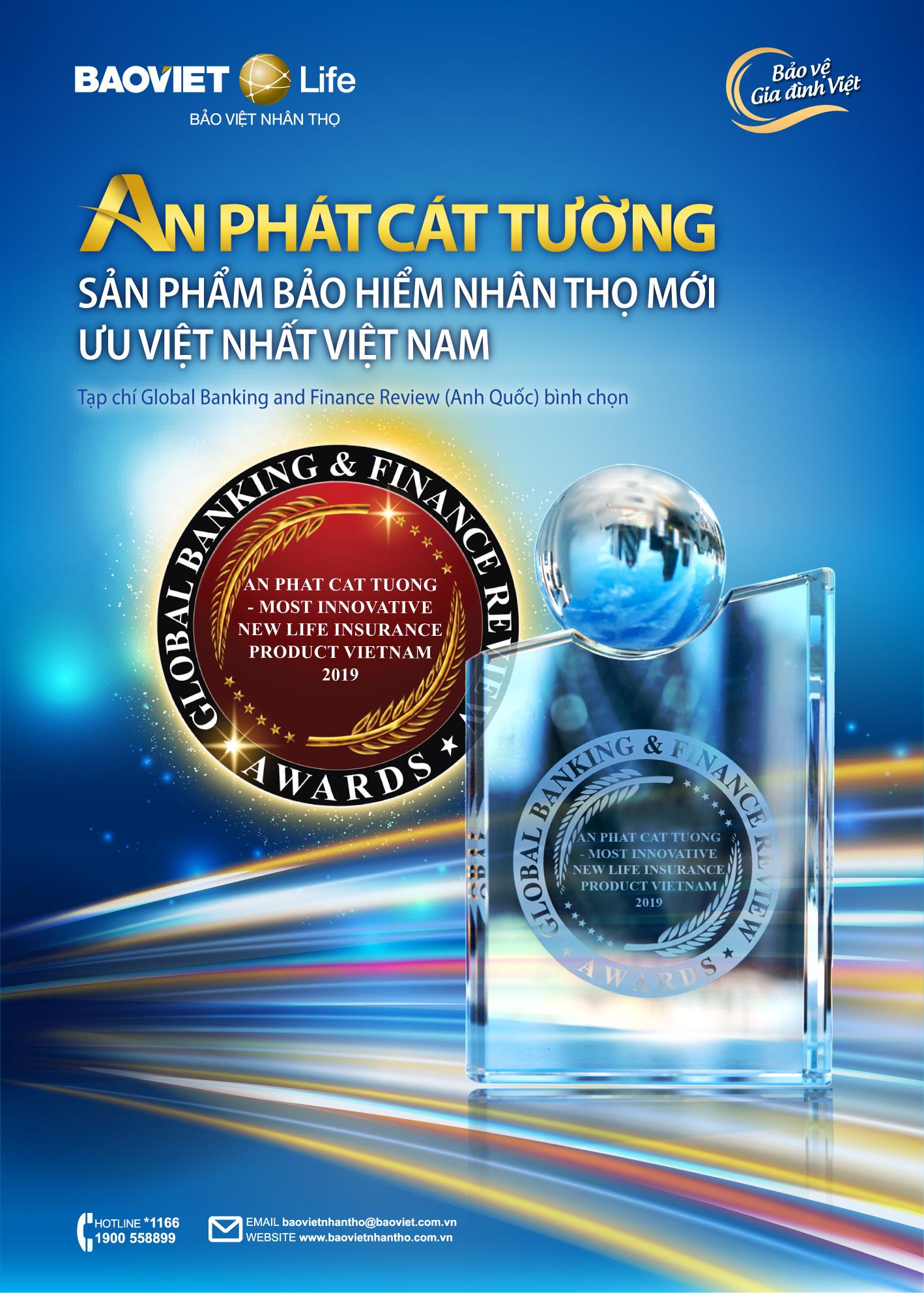 """""""An Phát Cát Tường"""" nhận giửi thưởng """"Sản phẩm Bảo hiểm nhân thọ mới ưu việt nhất Việt Nam"""""""