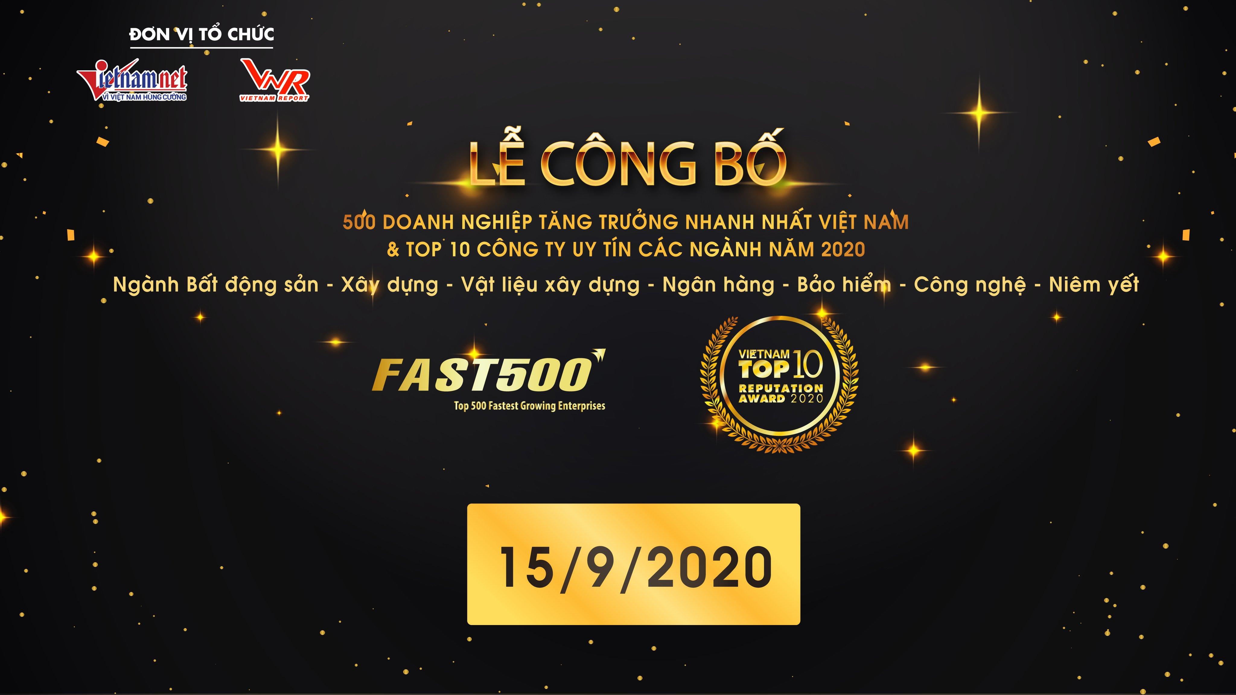 Lễ công bố trực tuyến:  FAST500 – 500 Doanh nghiệp tăng trưởng nhanh nhất Việt Nam năm 2020