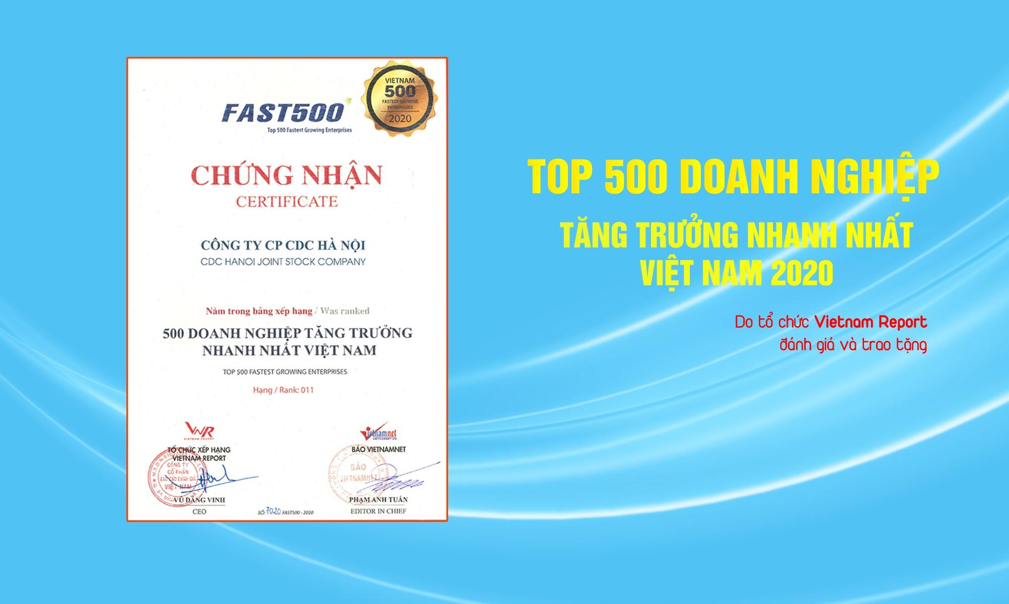 Công ty CP CDC Hà Nội được tôn vinh tại Lễ công bố 500 Doanh nghiệp tăng trưởng nhanh nhất Việt Nam 2020