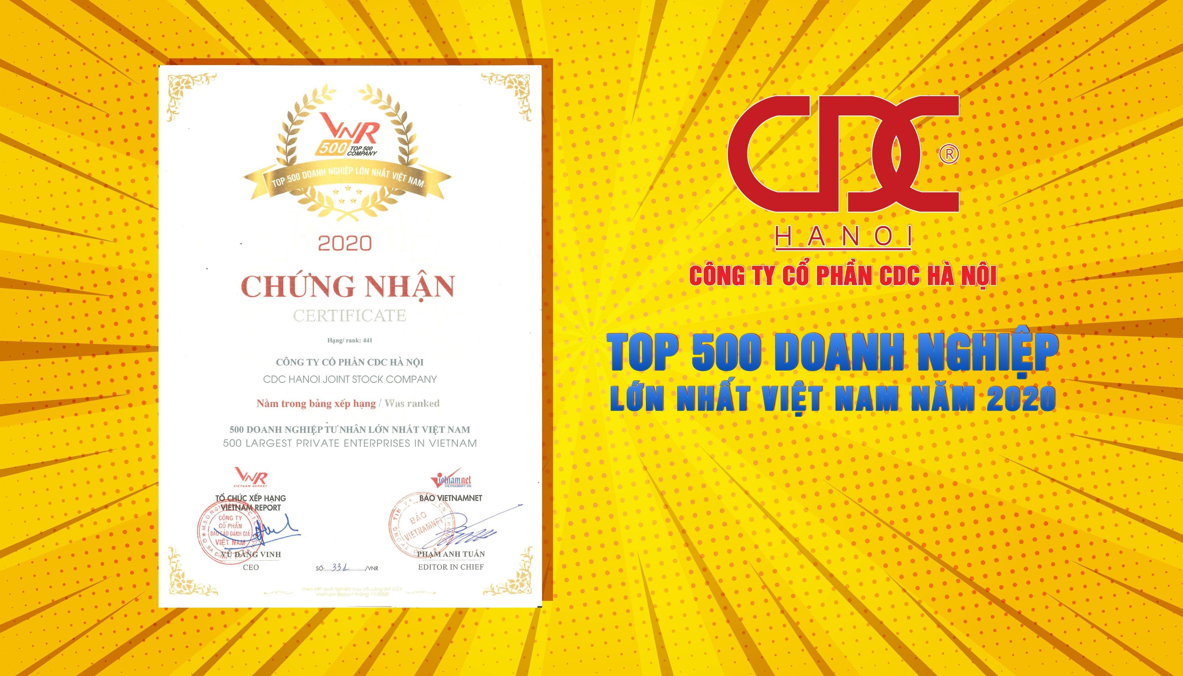 Công ty Cổ phần CDC Hà Nội vinh dự góp mặt trong BXH 500 Doanh nghiệp lớn nhất Việt Nam năm 2020 - VNR500
