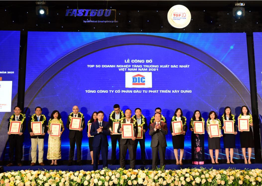 Tập đoàn DIC đạt Top 50 Doanh nghiệp tăng trưởng xuất sắc nhất Việt Nam 2021