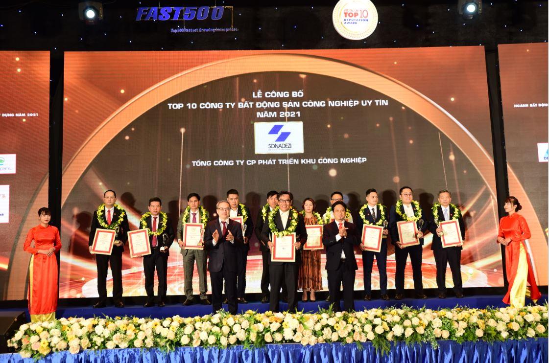 Sonadezi đạt Top 10 Công ty bất động sản công nghiệp uy tín năm 2021