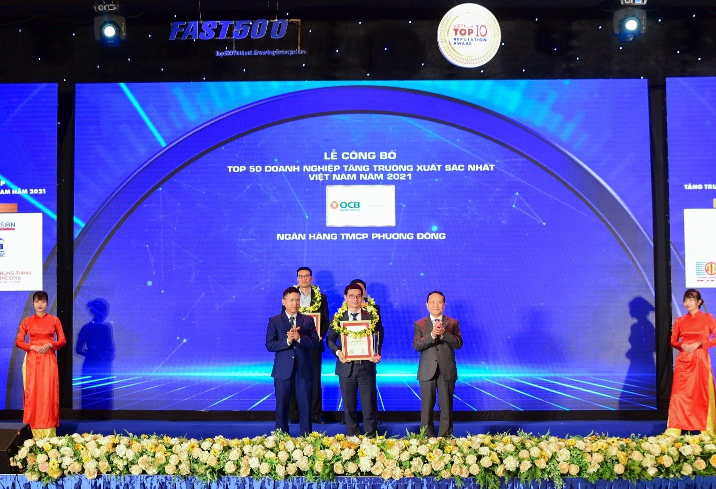 OCB đạt Top 50 Doanh nghiệp tăng trưởng xuất sắc nhất Việt Nam năm 2021