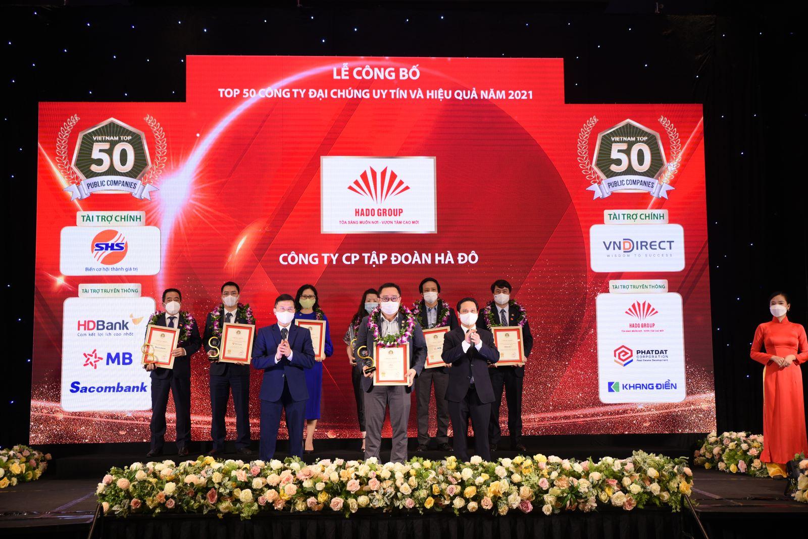 Tập đoàn Hà Đô vinh danh trong Top 50 Công ty Đại chúng uy tín và hiệu quả năm 2021