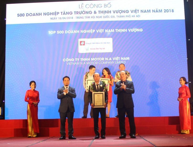 Công ty TNHH Motor N.A Việt Nam, Honda Ôtô Tây Hồ - Top 500 Doanh nghiệp Thịnh vượng