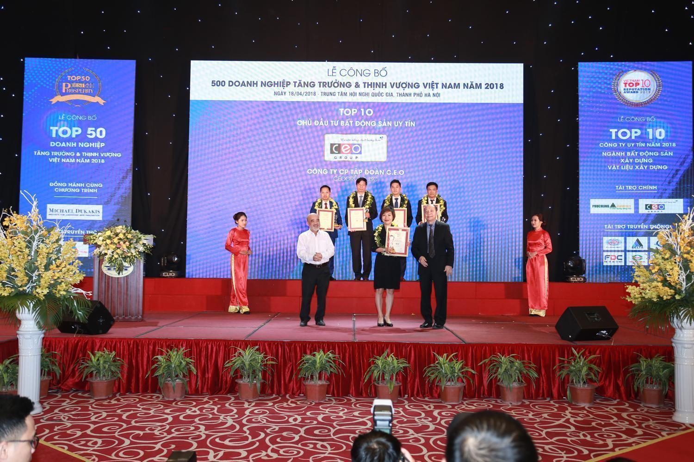 Tập đoàn CEO được vinh danh Top 10 Chủ đầu tư Bất động sản uy tín 2018