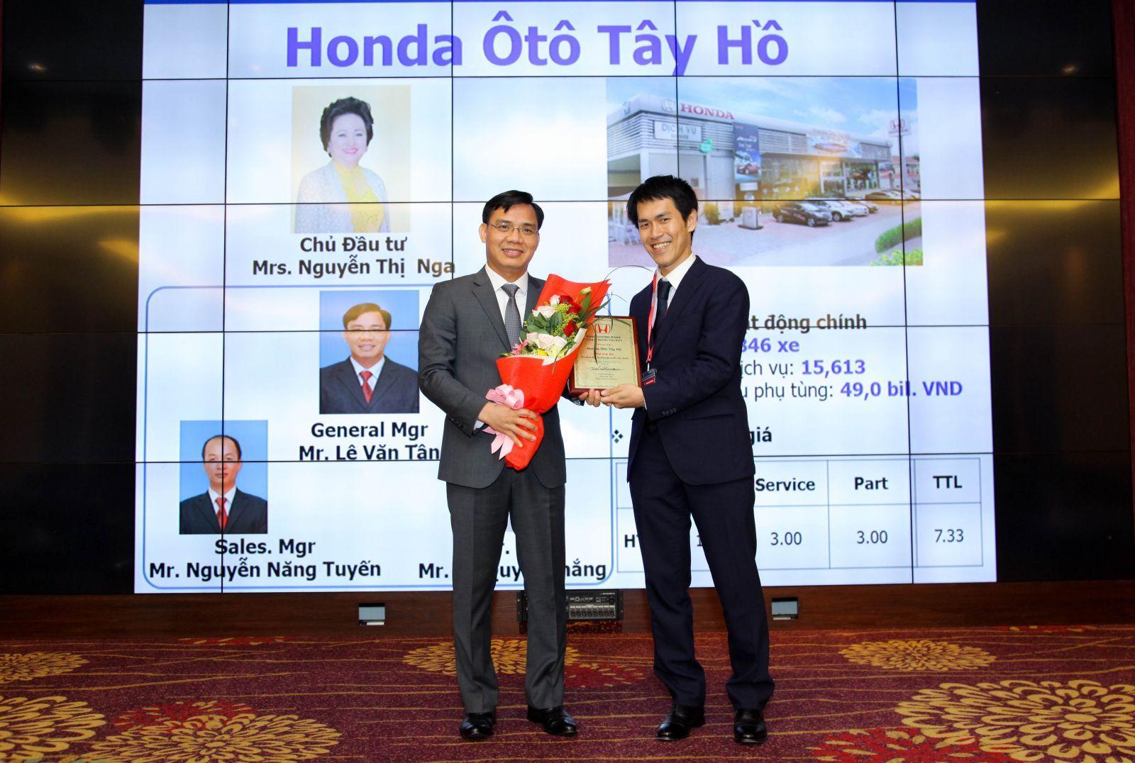 Honda Ôtô Tây Hồ tự hào được vinh danh là một trong 3 đại lý Honda ô tô suất sắc nhất