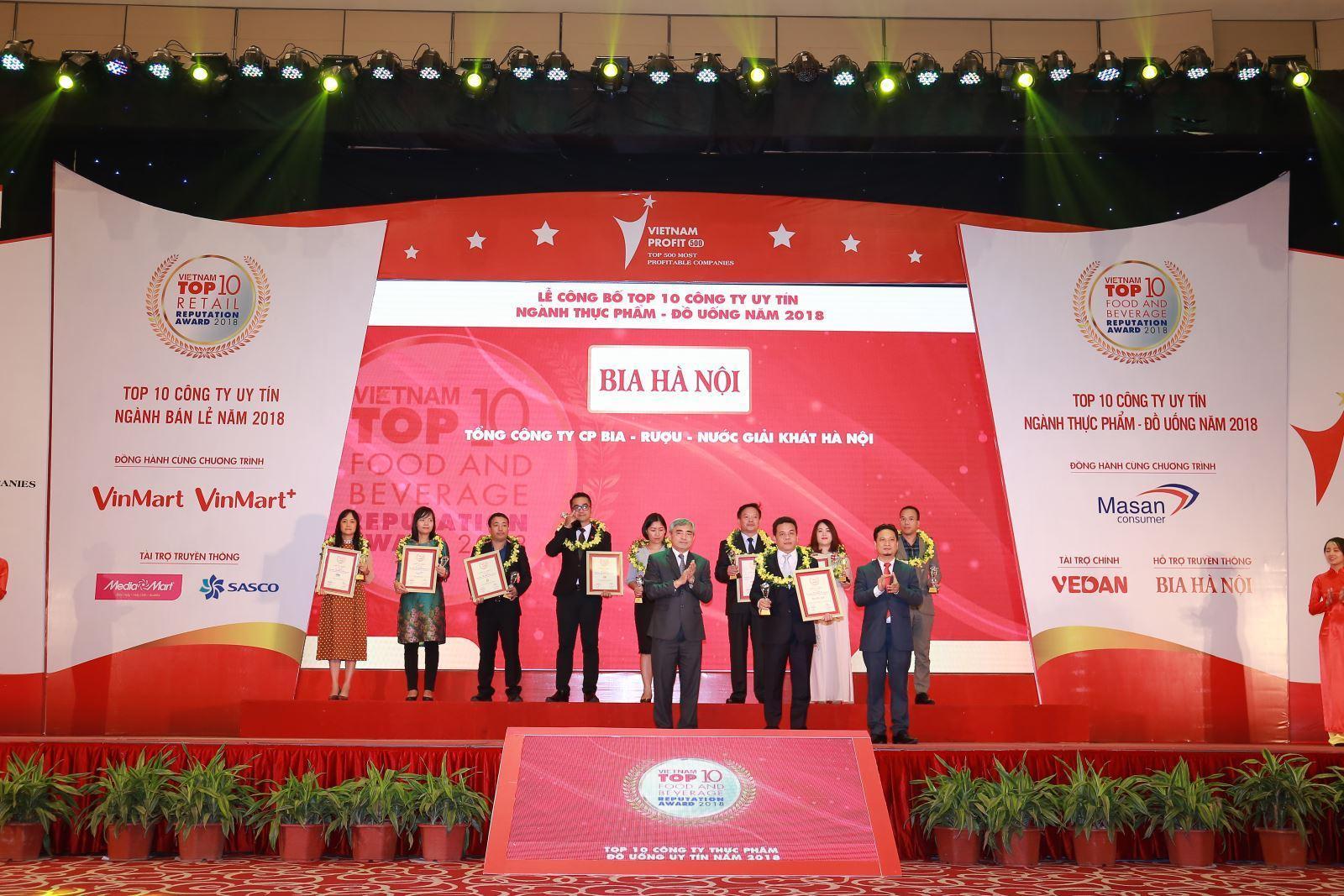 """HABECO được vinh danh """"Top 10 Công ty uy tín ngành thực phẩm – đồ uống Việt Nam 2018"""""""