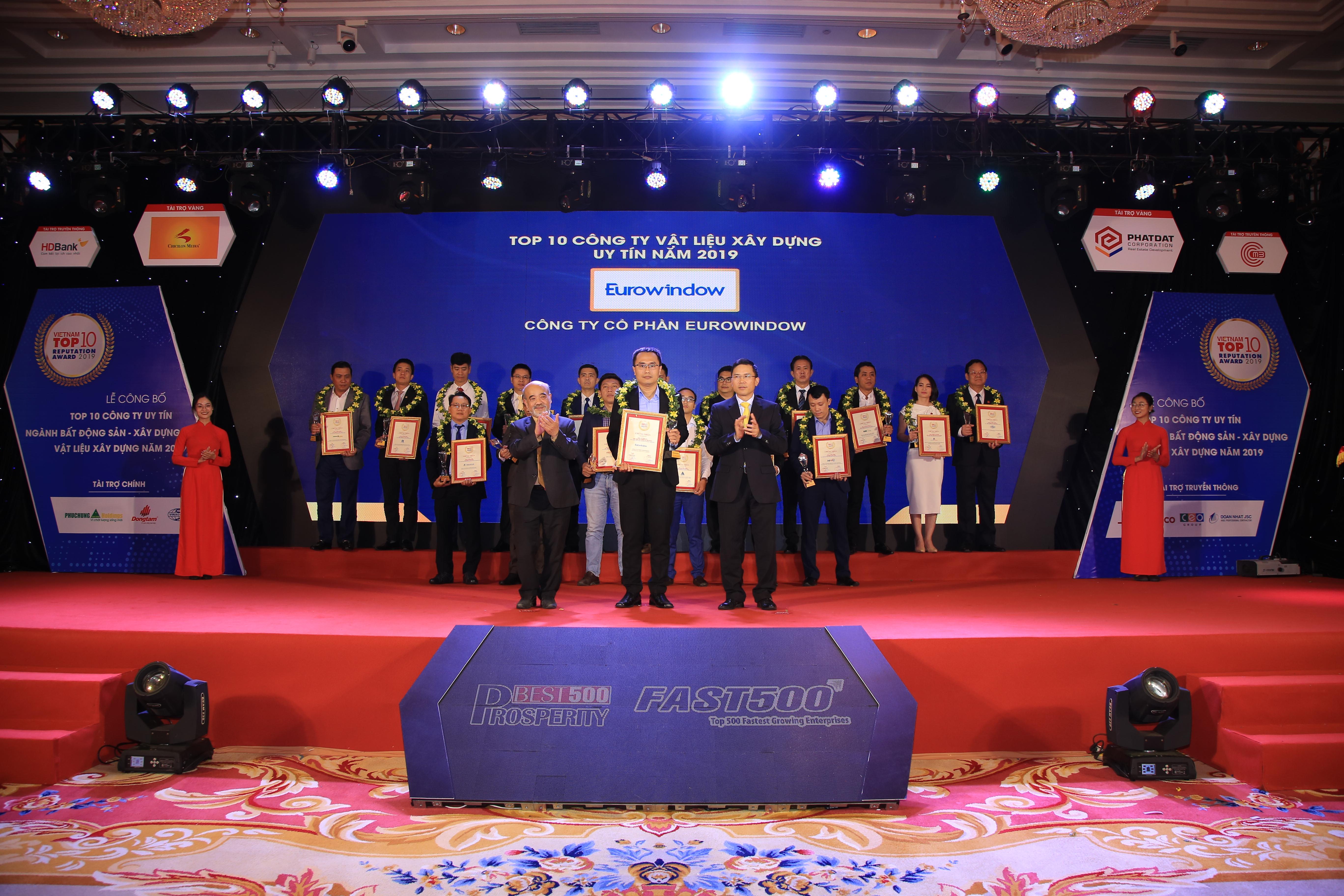 Eurowindow đạt Top 10 Công ty vật liệu xây dựng Việt Nam uy tín 2019