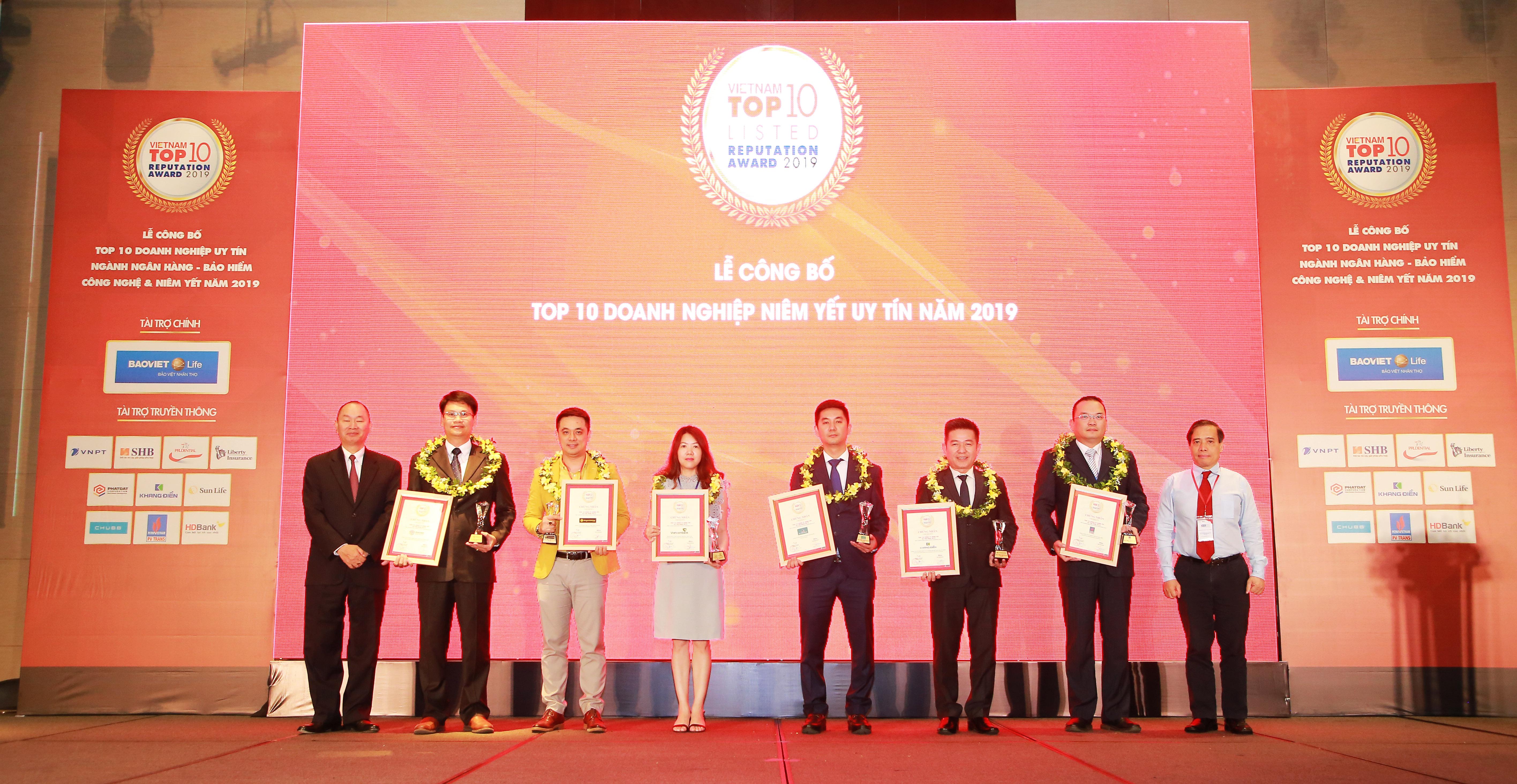Khang Điền được vinh danh top 10 doanh nghiệp niêm yết uy tín nhất năm 2019