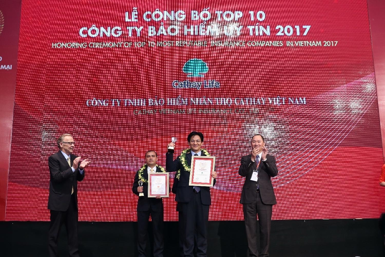 Bảo hiểm nhân thọ Cathay Việt Nam lọt Top 10 công ty bảo hiểm uy tín năm 2017