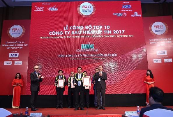 Bảo hiểm Quân đội chính thức vào Top 10 Công ty Bảo hiểm phi nhân thọ uy tín 2017