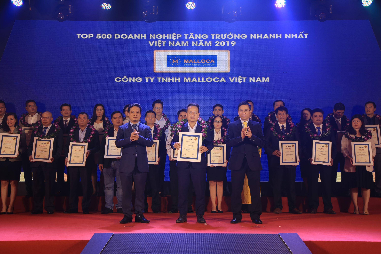Malloca vinh dự nhận giải thưởng Top 500 Doanh nghiệp tăng trưởng nhanh nhất Việt Nam