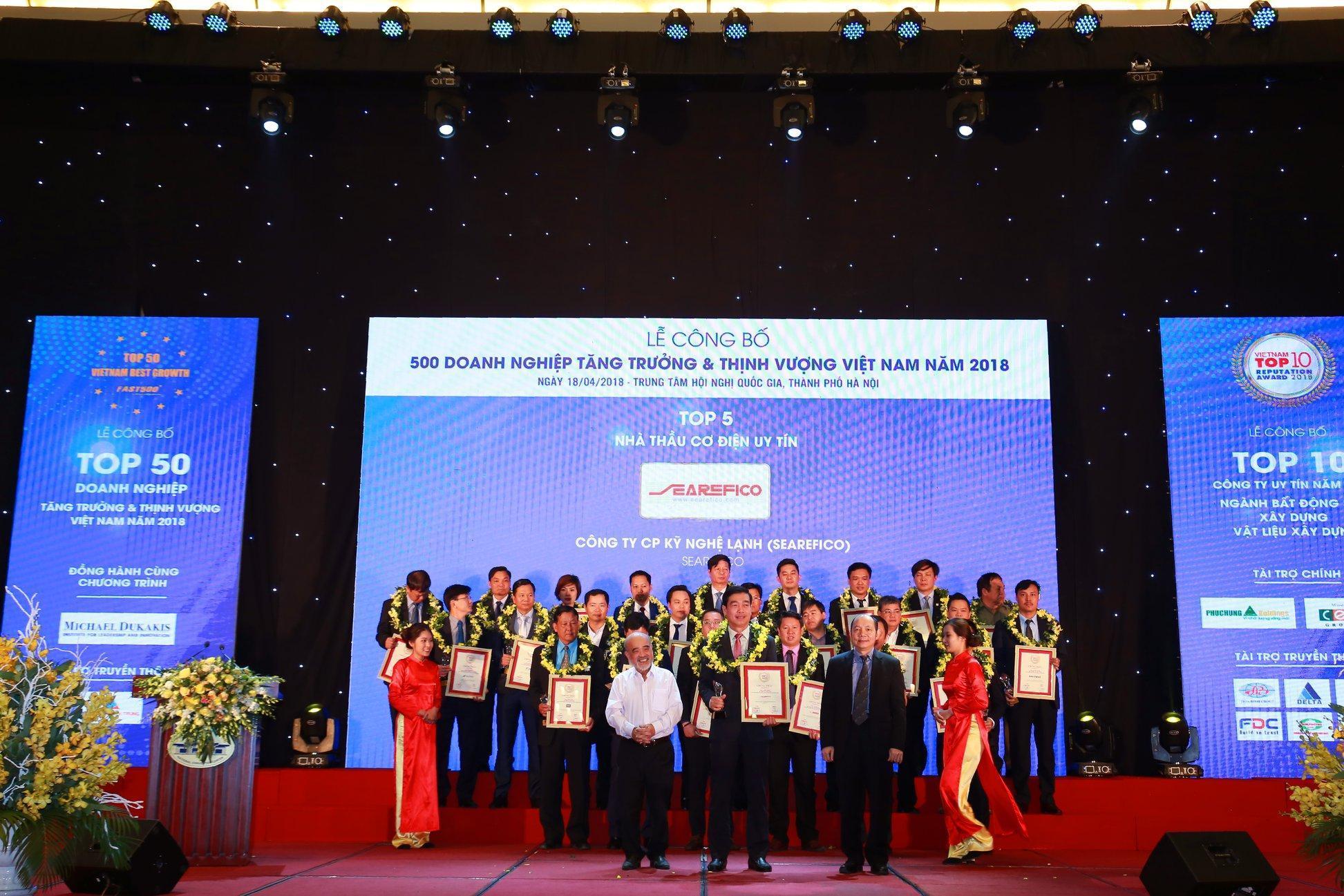 SEAREFICO nhận giải thưởng Top 5 Nhà thầu Cơ điện uy tín năm 2018