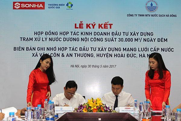 Tập đoàn Sơn Hà kí kết hợp tác với Công ty nước sạch Hà Đông