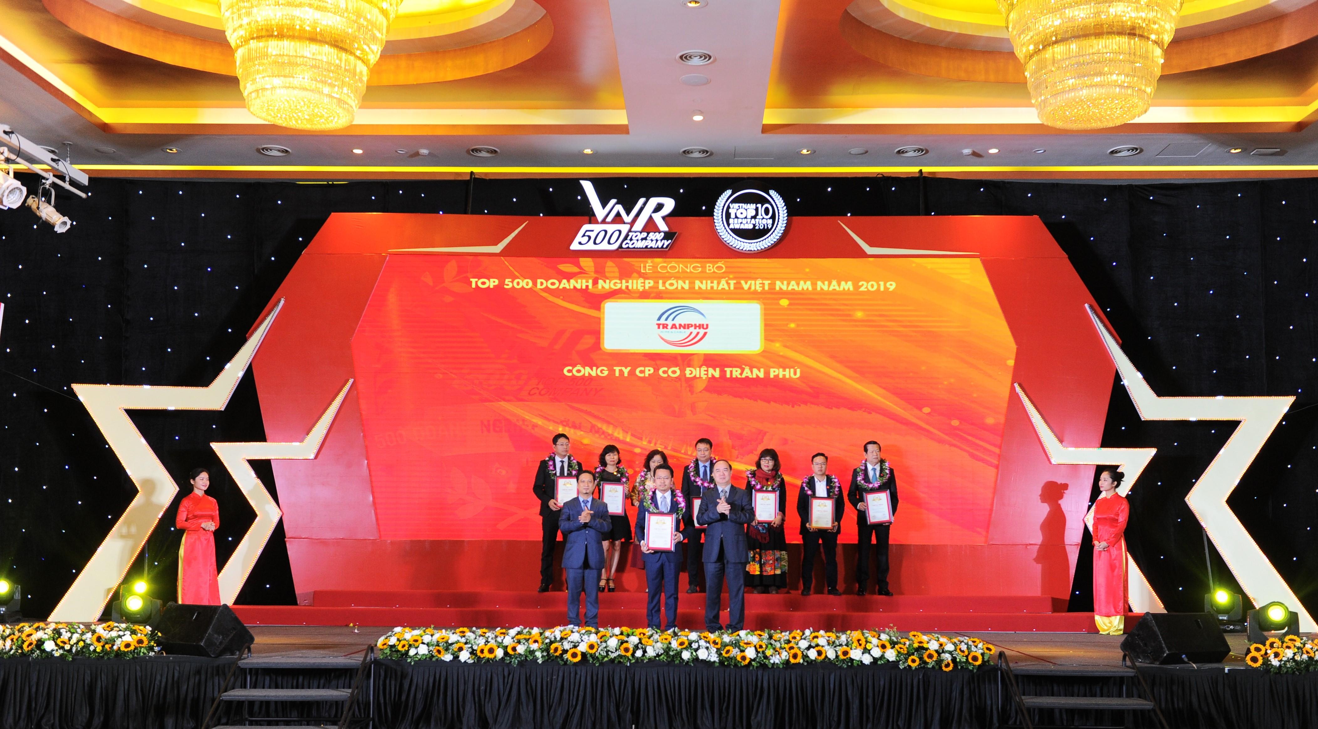 Cơ điện Trần Phú tăng 37 bậc trong BXH 500 doanh nghiệp lớn nhất Việt Nam 2019