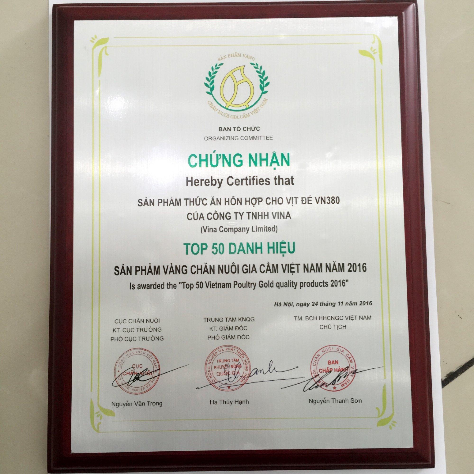 """Công ty TNHH ViNa  đạt danh hiệu """"Sản phẩm vàng chăn nuôi gia cầm Việt Nam 2016"""""""