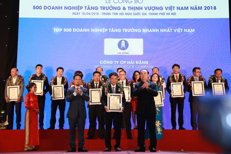 Công ty CP Hải Đăng 2 năm liên tiếp ghi danh Top 10 Doanh nghiệp tăng trưởng nhanh nhất
