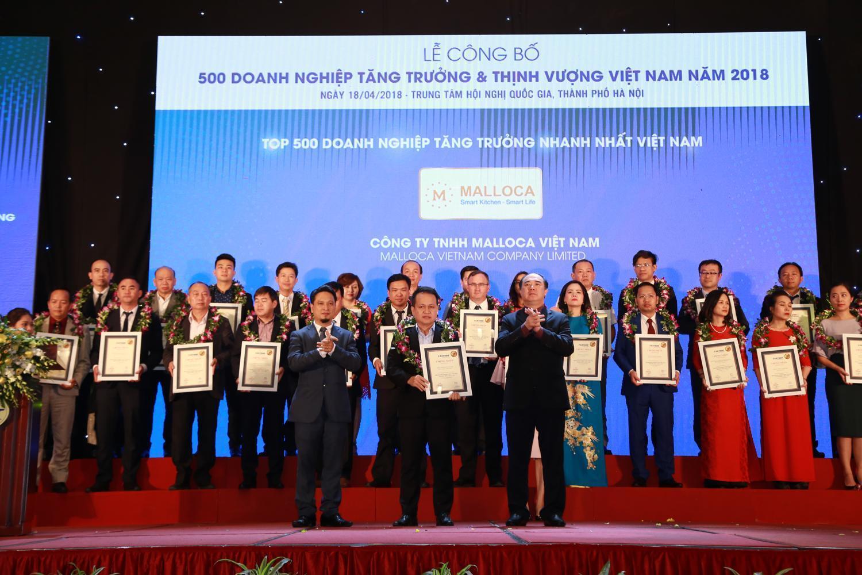 Malloca nhận giải Top 500 Doanh nghiệp tăng trưởng nhanh nhất Việt Nam