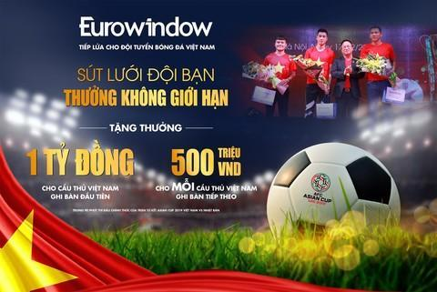 Sút lưới đội bạn – Thưởng không giới hạn: Eurowindow treo thưởng tiền tỷ cho đội tuyển Việt Nam