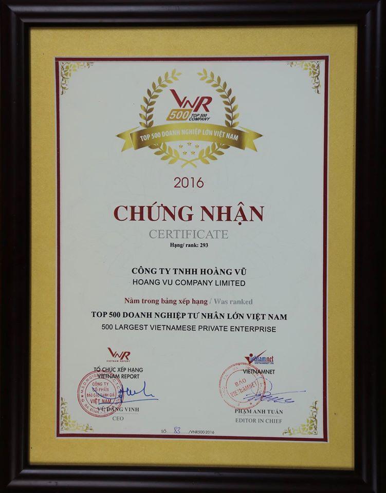 Hoàng Vũ đạt Top 500 Doanh nghiệp tư nhân lớn nhất Việt Nam
