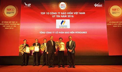 PJICO vào Top 10 DN bảo hiểm Việt Nam uy tín 2016