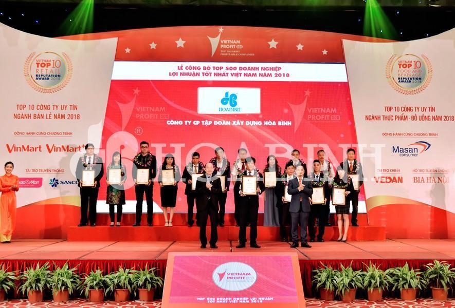 Hòa Bình đạt Top 500 doanh nghiệp lợi nhuận tốt nhất Việt Nam 2018
